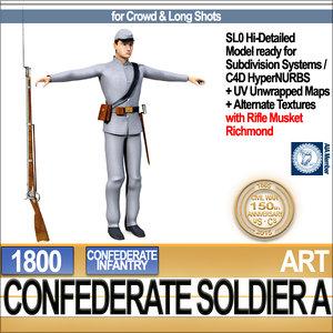 c4d civil war confederate soldier