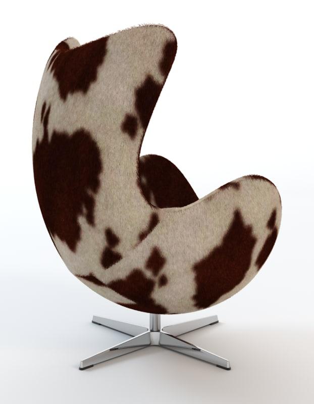Beautiful 3d Arne Jacobsen Cowhide Egg Chair Model
