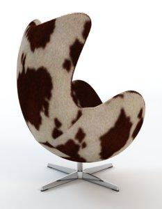 3d arne jacobsen cowhide egg chair model
