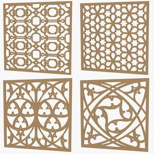 set decorative panels 3d model