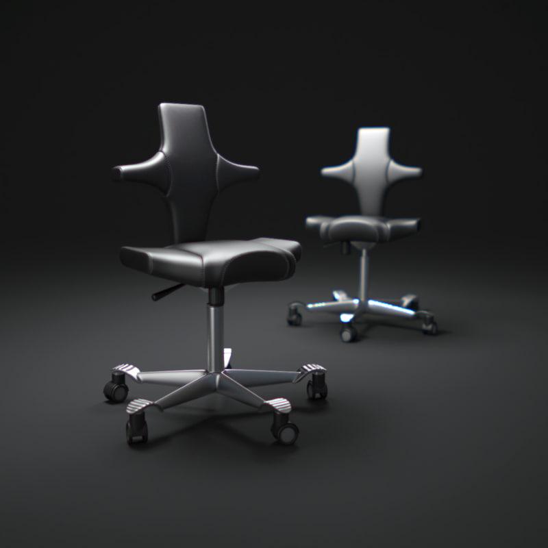 black-leather-office-chair 3d obj