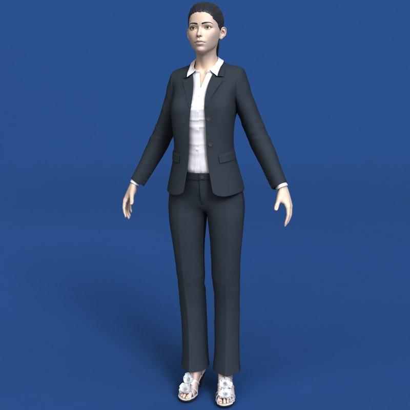 3d model woman clothing eyes
