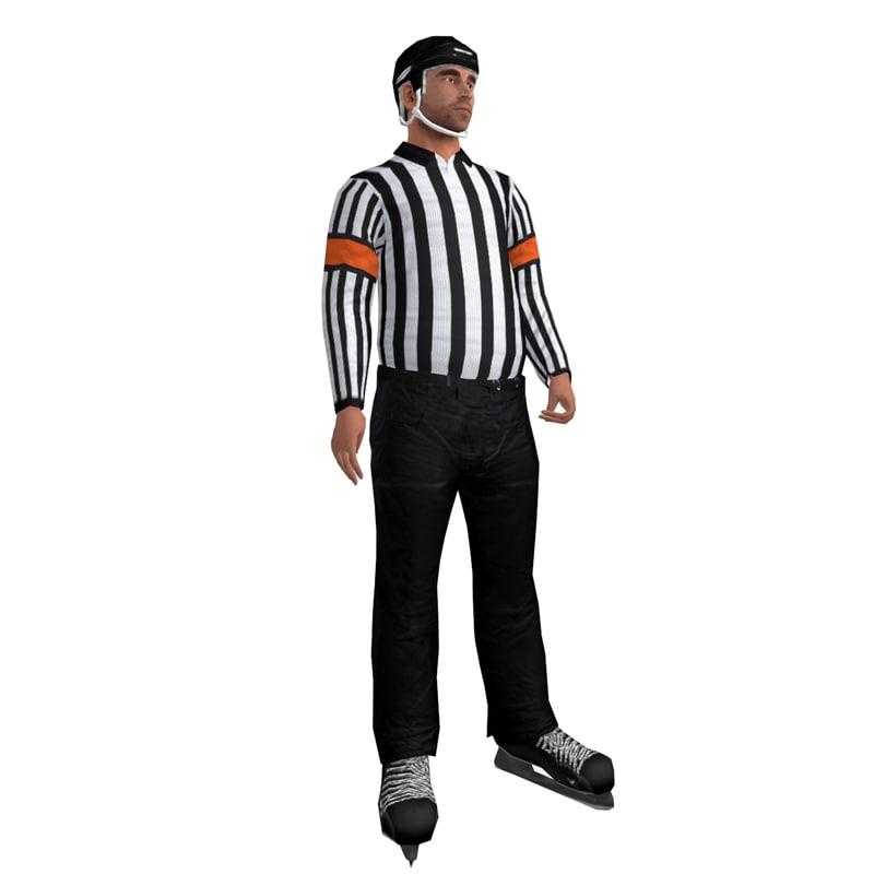 rigged hockey referee 3d model