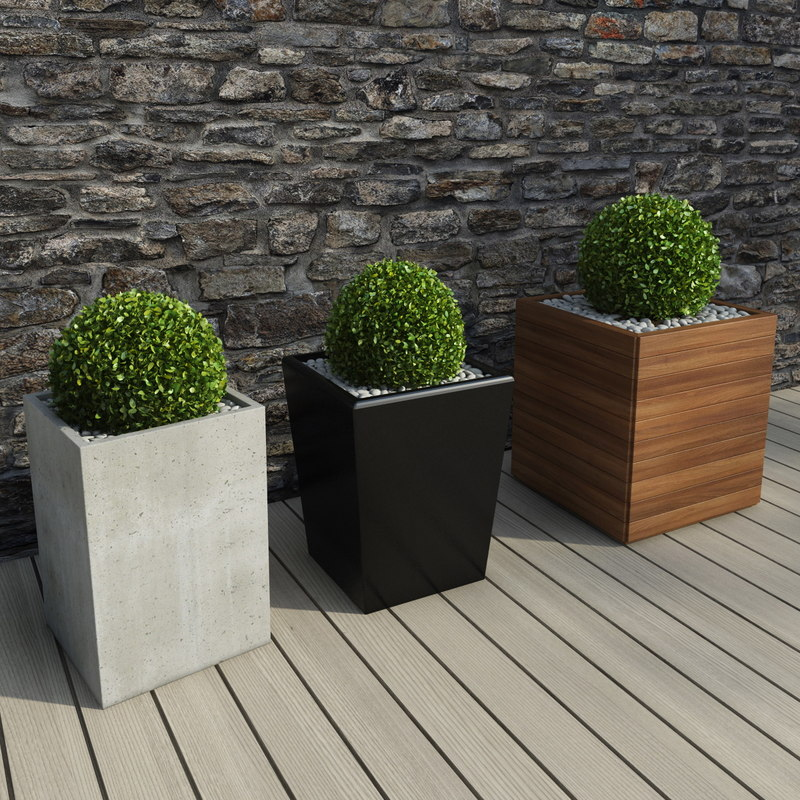 3d shrubs pots outdoor