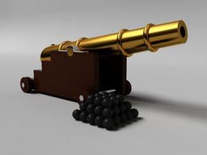 3d artillery cannon naval gun