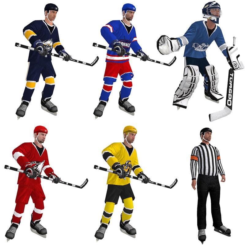 pack rigged hockey man 3d max