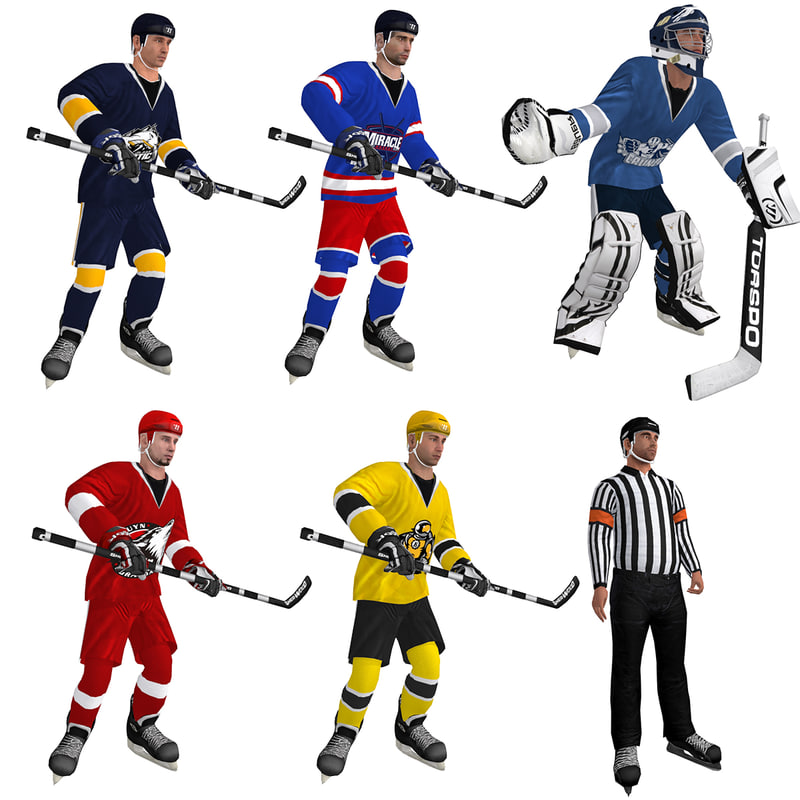 pack rigged hockey 3d max