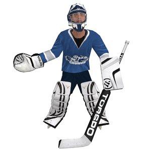 3d hockey goalie rigged