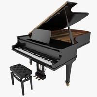 3d max grand piano black