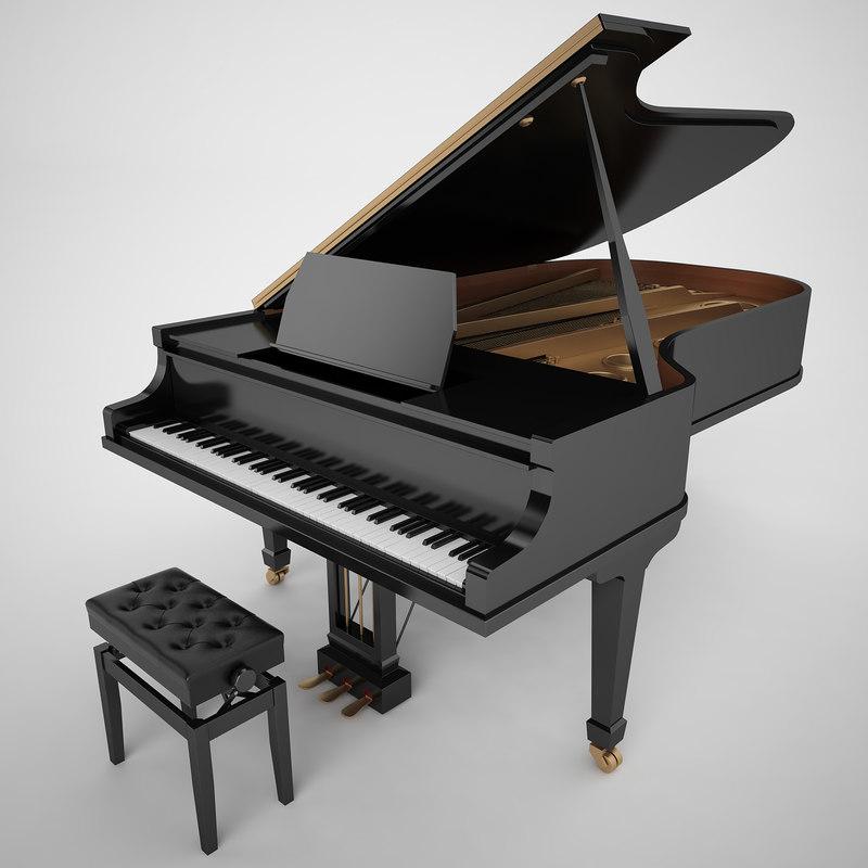 3d max grand piano black. Black Bedroom Furniture Sets. Home Design Ideas