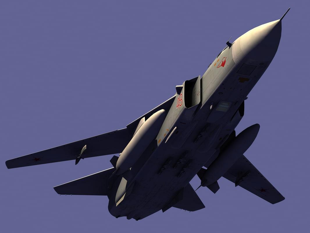 3d model sukhoi su-24 bomber airplane