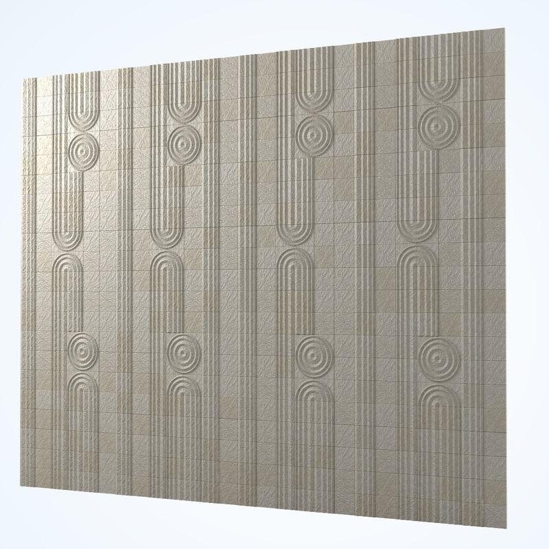 3d model of kowa decorative pattern stone wall