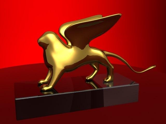 3d model of gold lion