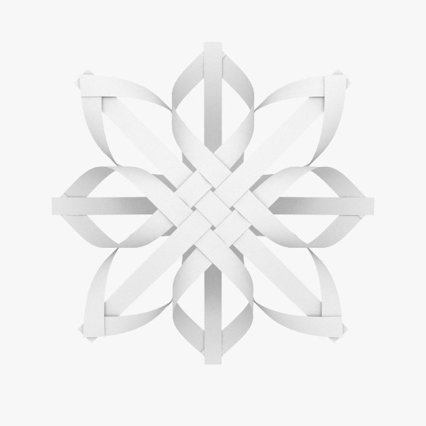 3d model origami snowflake v2 low-poly