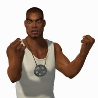 black male gang member 3d model