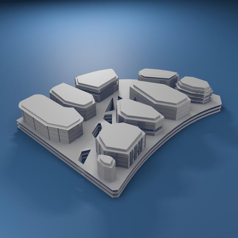 generic cluster buildings 3d max