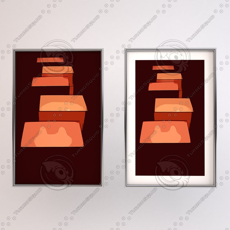 3d framed modern art chrome model