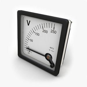 panel dc voltmeter 3d max