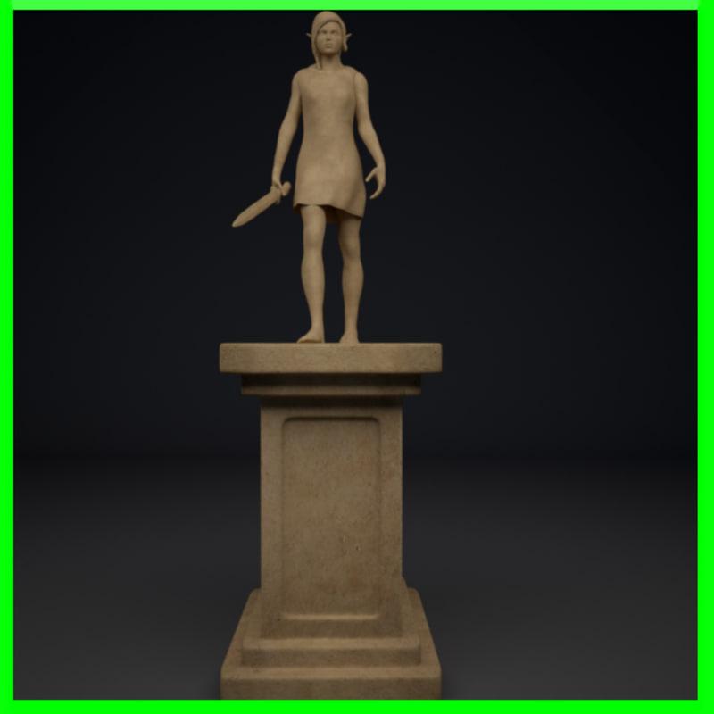 walking elf statue 3d max