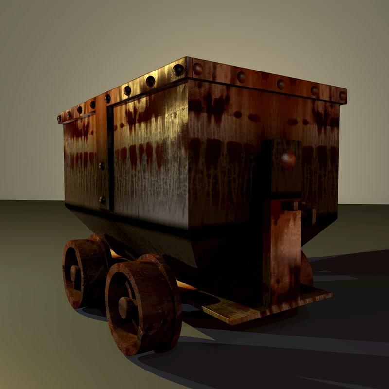 obj old mining cart