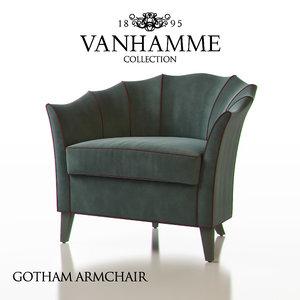 3d model vanhamme gotham armchair
