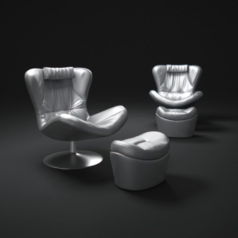 3d model natuzzi-leather-sound-chair