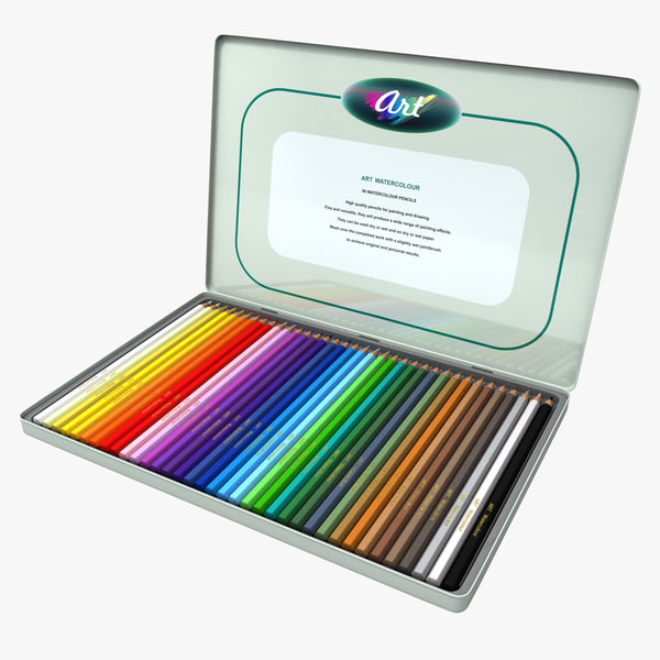 3d model watercolour pencils