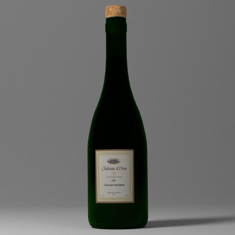 free 3ds model wine bottle