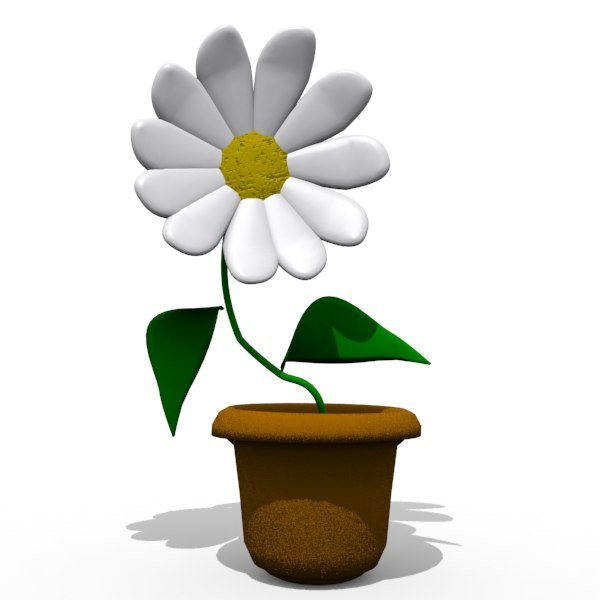cartoon flower toon 3d model
