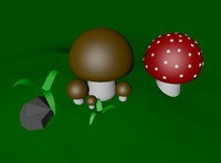Three cartoon mushrooms