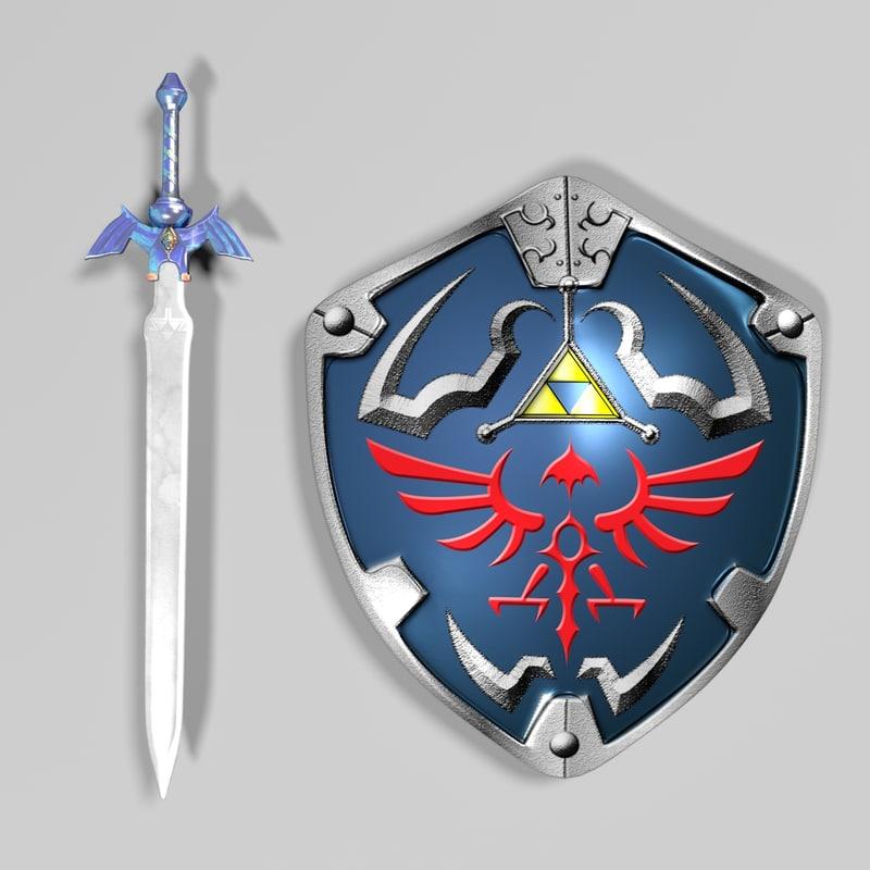 3d sword shield model