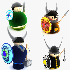 3d viking doll toys model