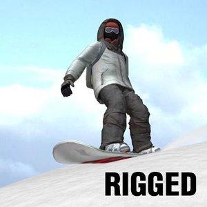 3d snowboarder board
