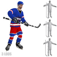 3d model rigged hockey player s