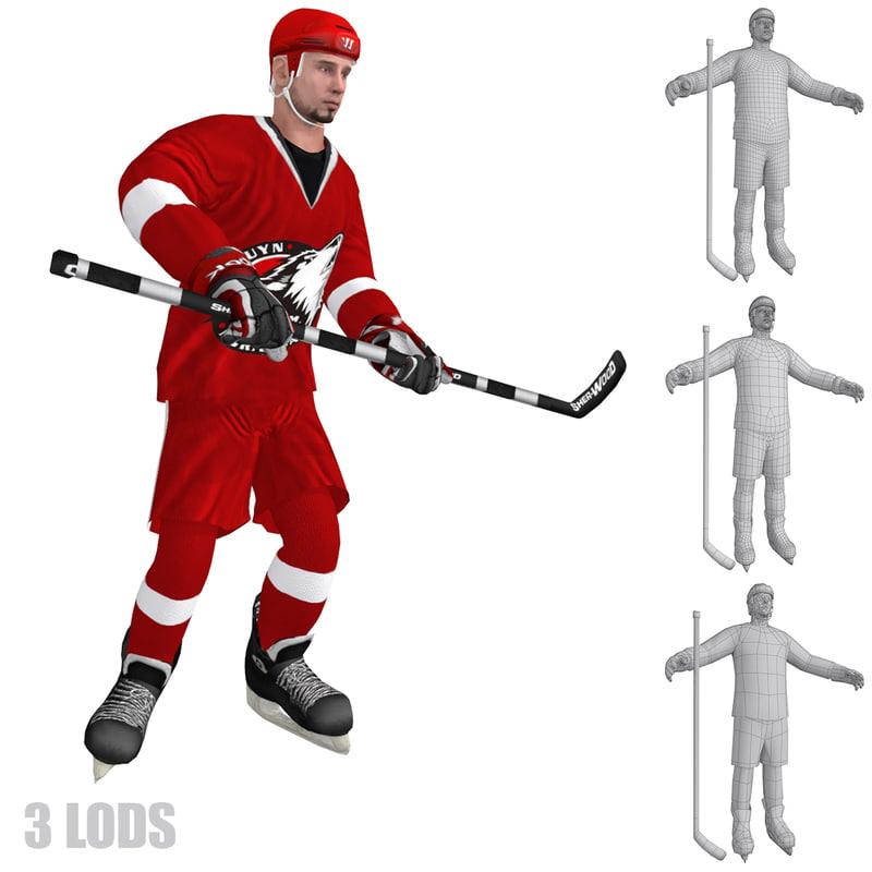 rigged hockey player 3 3d model