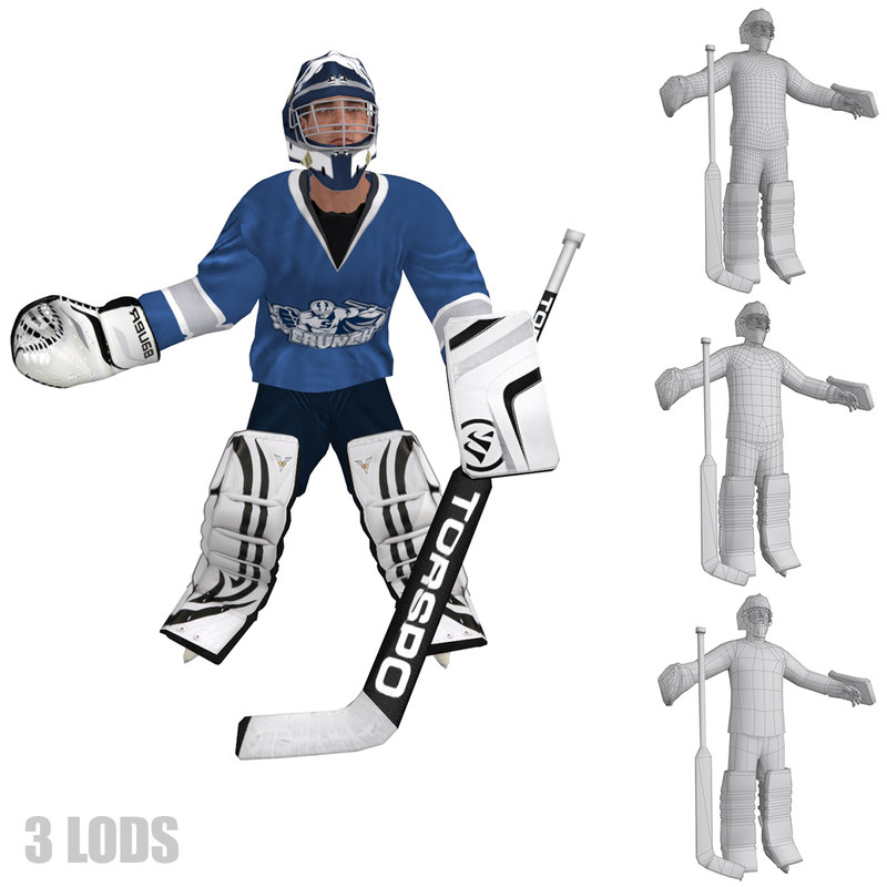 hockey s rigged 3d model