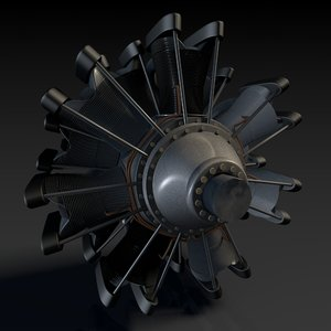 3d model fiat 74 radial engine