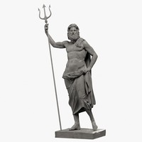 poseidon sculpture 3d model