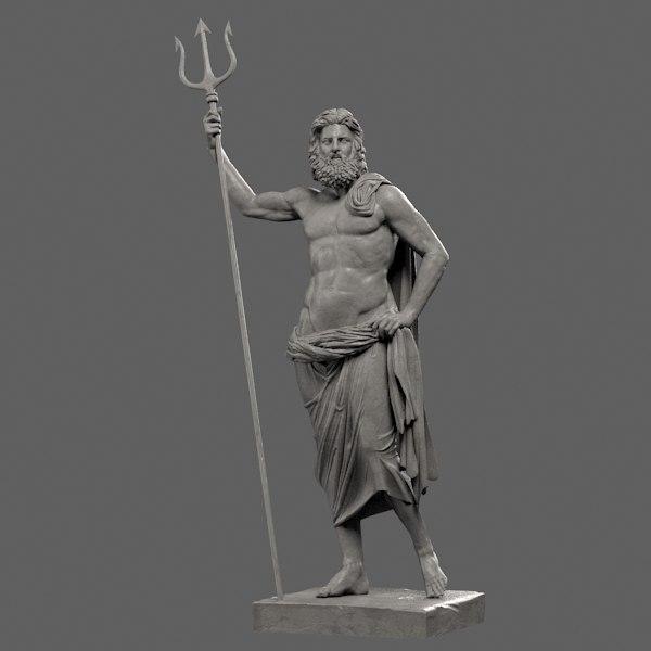 poseidon sculpture 3d model