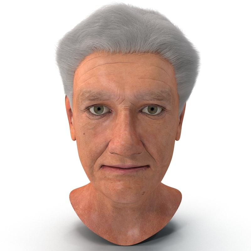 elderly woman head 3d model