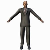 3d model black male businessman rigged