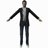 Male businessman casual rigged animated