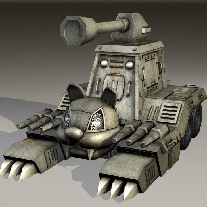 cat tank cute vehicle 3d model