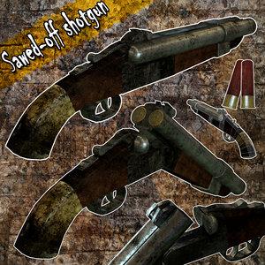 sawed-off shotgun shell 3d obj