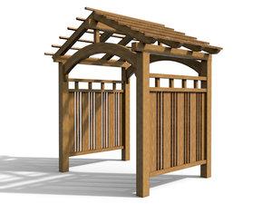 3d wooden arbor house exterior