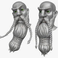 bearded man head 3d obj