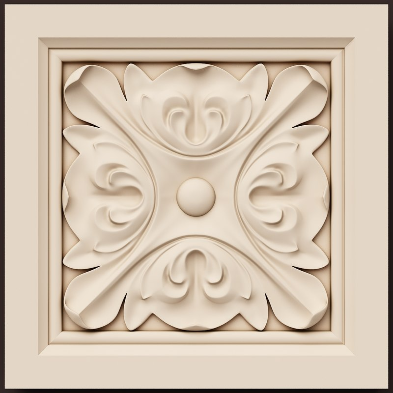 3d 3ds rosette decoration ornamental interior wall