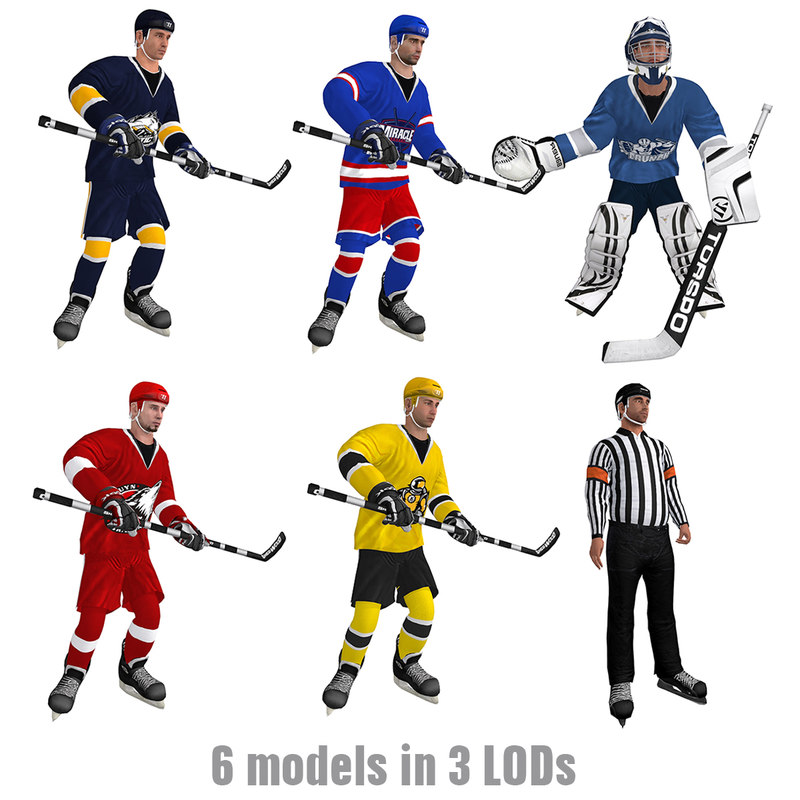 hockey pack s rigged 3d model
