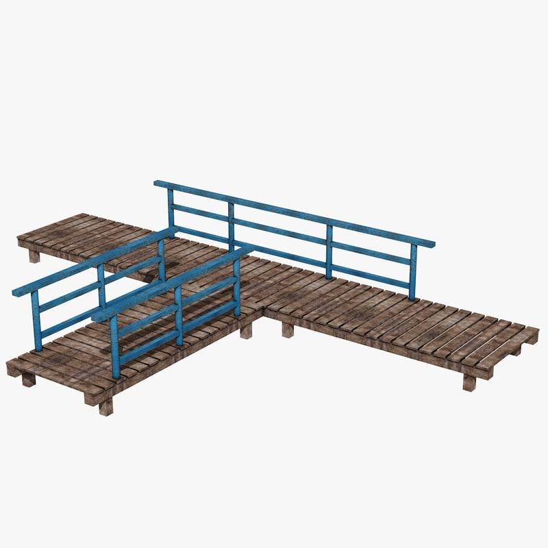 3d c4d wooden platform