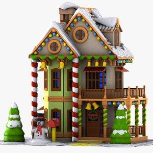 3d model cartoon house toon